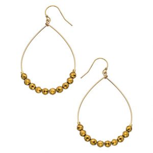 Gold Filled Hoop Earrings with Gold Hematite