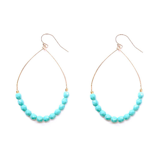 Gold Filled Hoop Earrings with Turquoise
