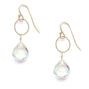Gold Filled Green Amethyst Drop Earrings