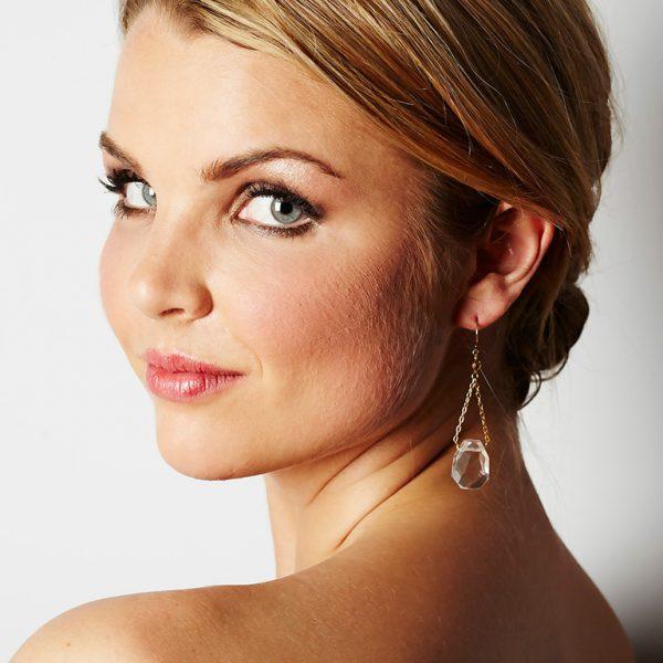 Crystal and Hematite Earrings worn by Model