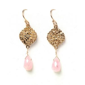 Filigree Earrings with Pink Quartz Teardrops
