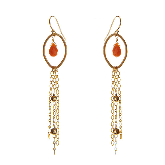 Waterfall Earrings with Carnelian