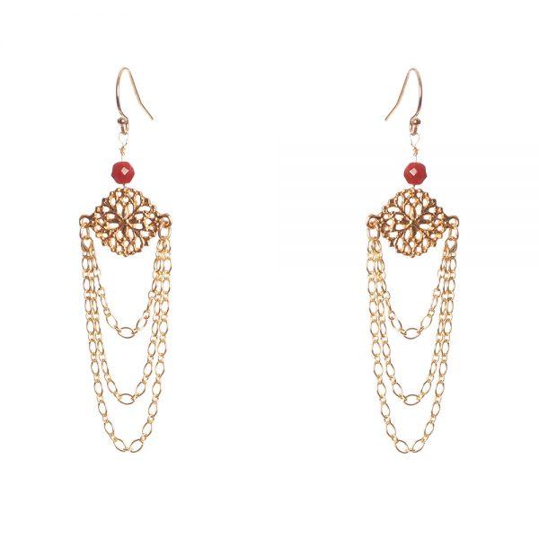 Chandelier Earrings with Carnelian