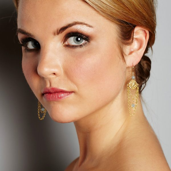 Chandelier Earrings with Aquamarine worn by Model