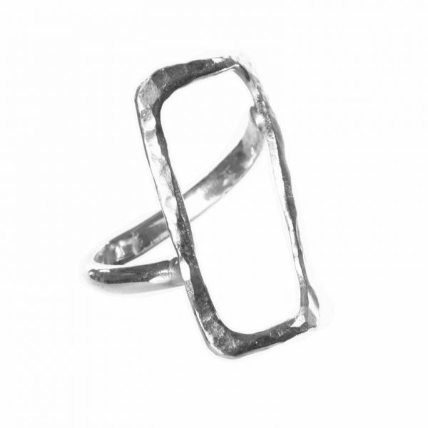 Hammered Rectangle Ring - Silver