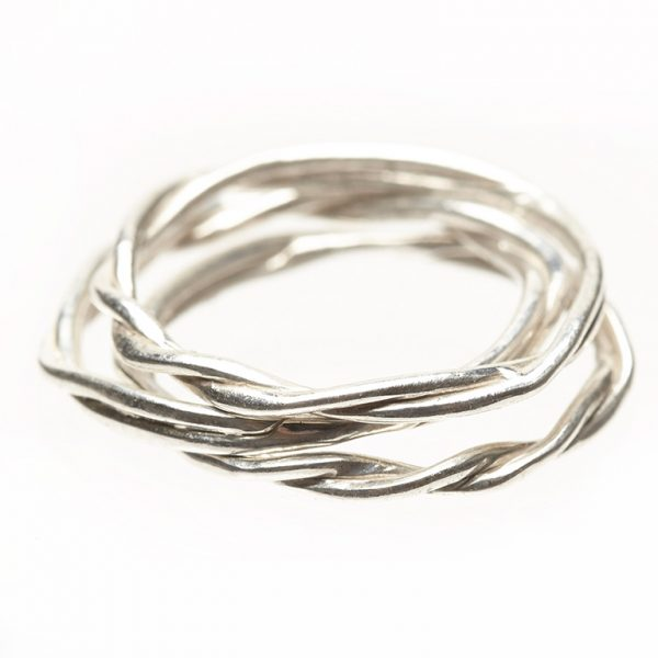Stacked Rope Rings - Silver