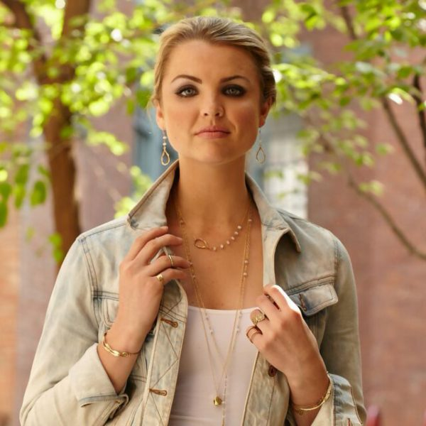 Tear Drop Earrings with Moonstone worn by Model