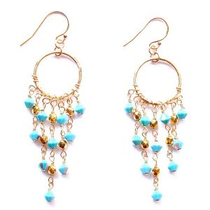 Chandelier Earrings with Turquoise Swarovski Crystals