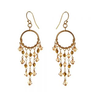 Chandelier Earrings with Topaz Swarovski Crystals