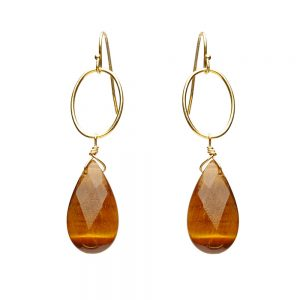 Tiger's Eye Tear Drop Earrings