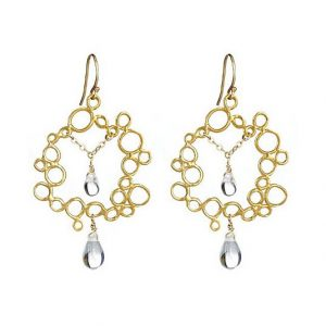 Circle Bubble Earrings with Crystal