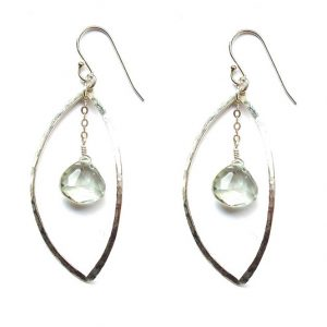 Hammered Oval Earrings with Green Amethyst
