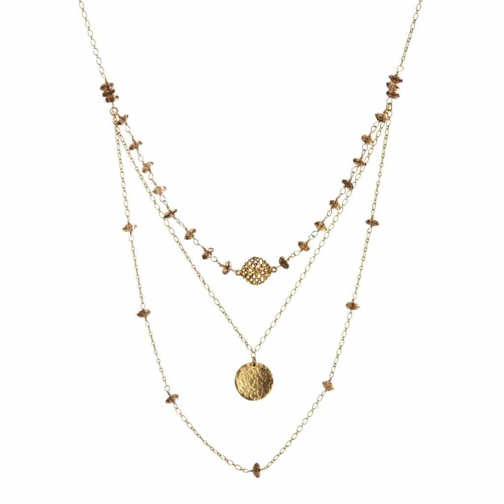 triple strand smokey topaz necklace alicia marilyn designs