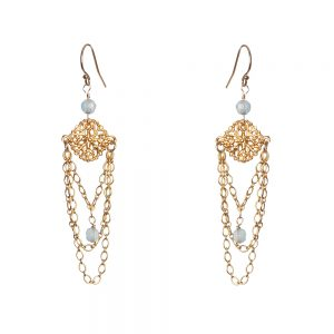 Chandelier Earrings with Aquamarine