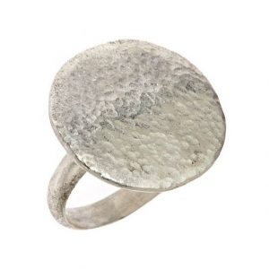Hammered Coin Ring - Silver