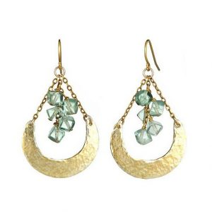 Hammered Crescent Earrings with Florite