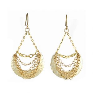 Hammered Crescent Earrings with Assorted Chains
